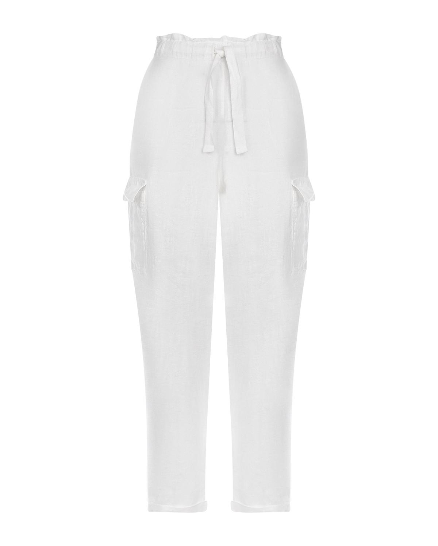 Купить Брюки на завязках с накладными карманами Deha, Белый, 100%лен, 100%хлопок