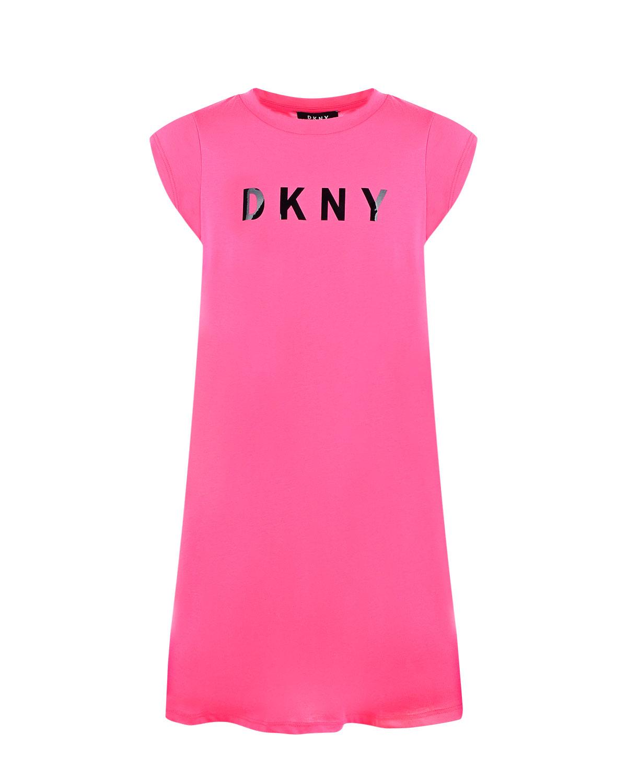Розовое платье свободного силуэта с принтом логотипа DKNY детское фото
