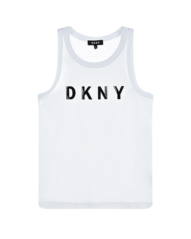 Купить Белая майка с принтом логотипа бренда DKNY детская, Белый, 95%хлопок+5%эластан