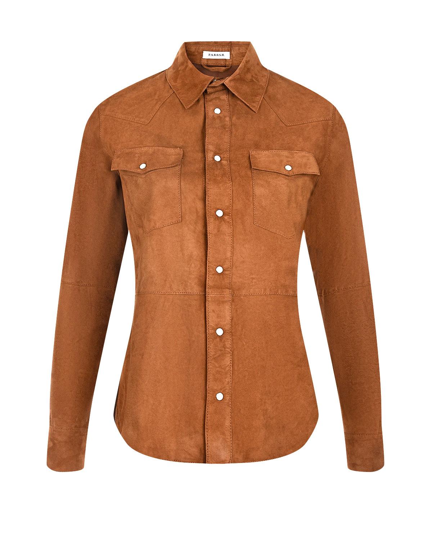 Замшевая рубашка с двумя накладными карманами Parosh фото