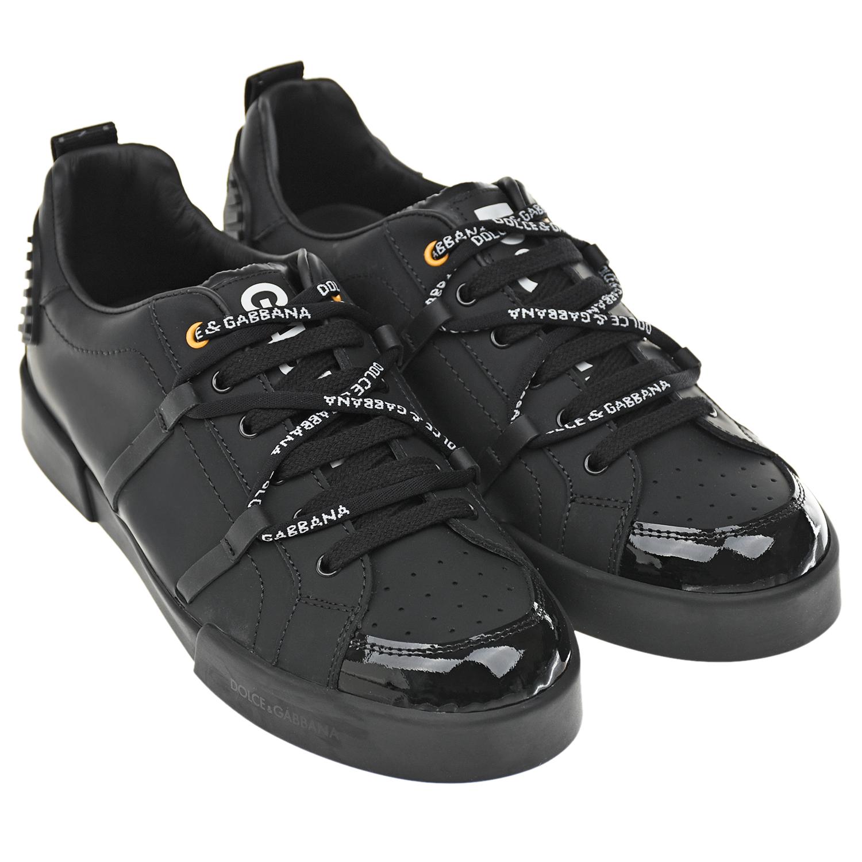 Купить Кожаные кроссовки с лакированной деталью Dolce&Gabbana детские, Черный, верх:8%полиэстер+92%натур.кожа, подкладка:100%натур.кожа, подошва:100%резина