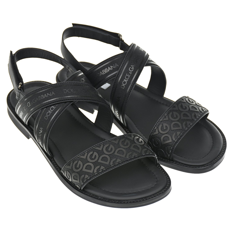 Черные сандалии с текстильными ремешками Dolce&Gabbana детские фото