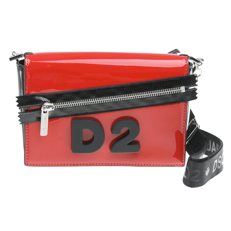 Купить Лакированная сумка с молнией, 10х11х4, 5 см Dsquared2 детская, Красный, 100%полиэстер, 100%полиуретан, 100%хлопок