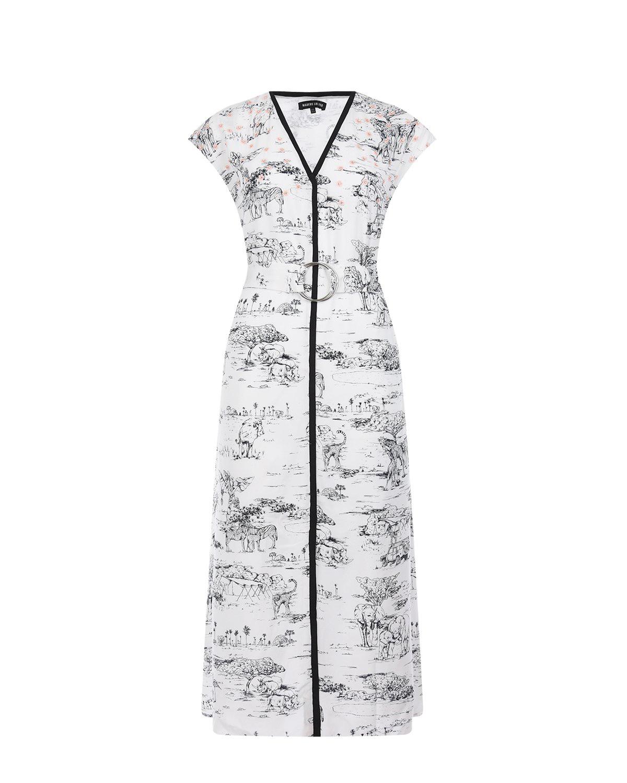 """Белое платье с принтом """"сафари"""" Markus Lupfer фото"""