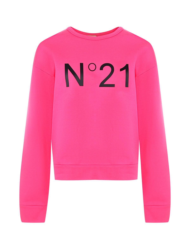 Розовый свитшот оверсайз No. 21 фото
