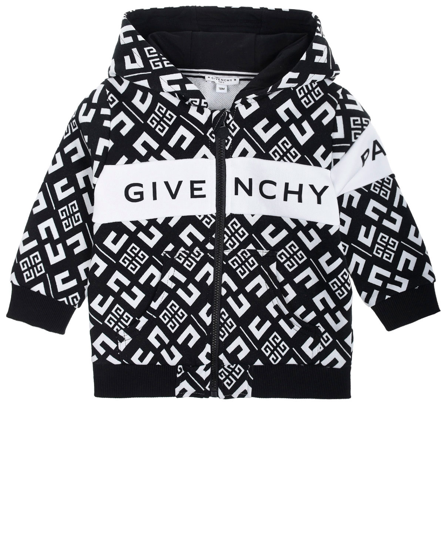 Купить Спортивная куртка с капюшоном и сплошным принтом Givenchy детская, Черный, 100%хлопок, 98%хлопок+2%эластан, 86%хлопок+14%полиамид