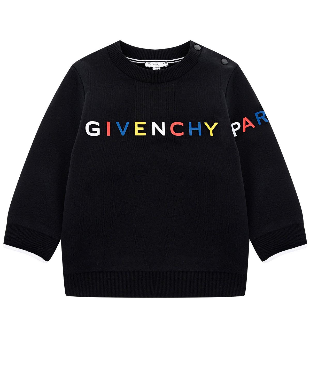 Купить Свитшот с разноцветным логотипом бренда Givenchy детский, Черный, 98%хлопок+2%эластан, 86%хлопок+14%полиэстер, 97%полиамид+3%эластан