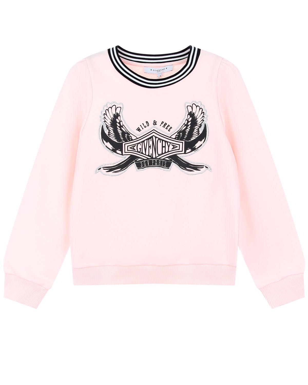 Купить Розовый свитшот с эластичным воротом Givenchy детский, Нет цвета, 100%хлопок, 98%хлопок+2%эластан, 86%хлопок+14%полиэстер, 97%полиамид+3%эластан