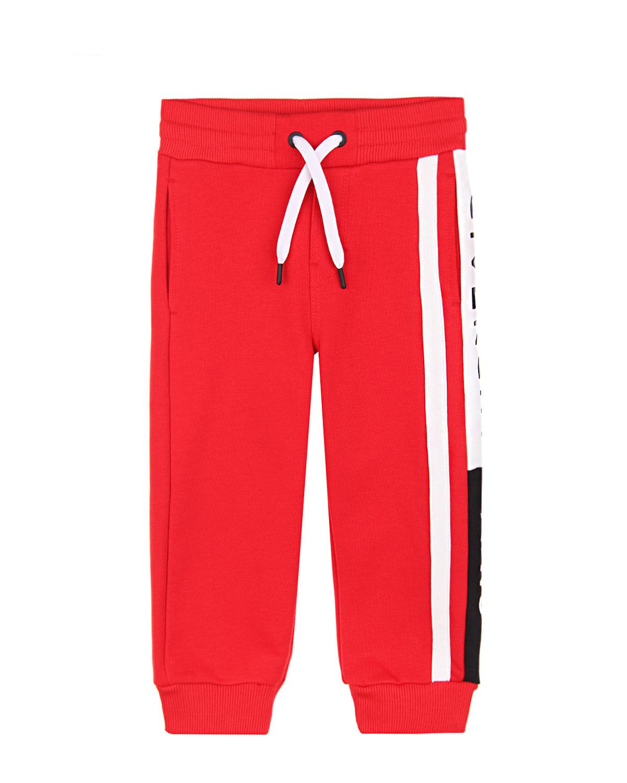 Купить Красные спортивные брюки с логотипом на штанине Givenchy детские, Красный, 100%хлопок, 98%хлопок+2%эластан, 86%хлопок+14%полиэстер