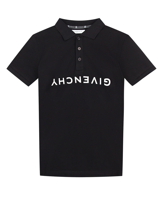 Купить Черная футболка-поло с перевернутым логотипом Givenchy детская