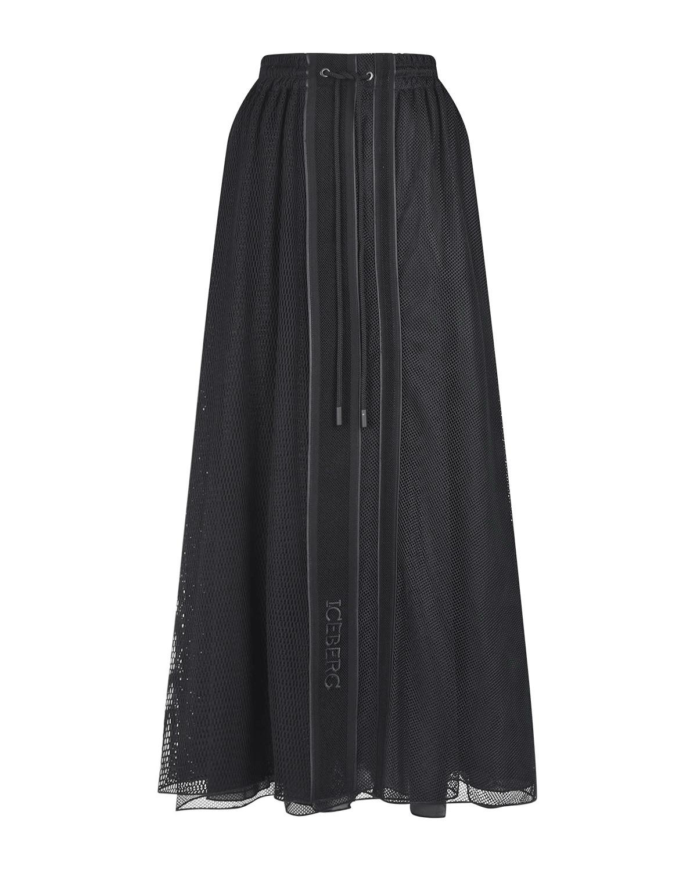 Купить Черная юбка миди с поясом на кулиске Iceberg
