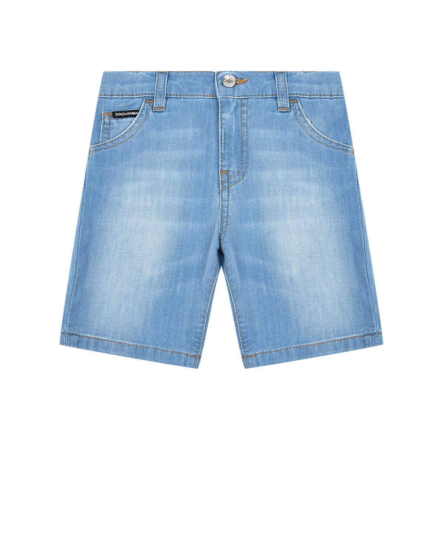 Купить Джинсовые шорты с эффектом потертости Dolce&Gabbana детские, Голубой, 72%хлопок+2%эластан+12%полиэстер+14%вискоза