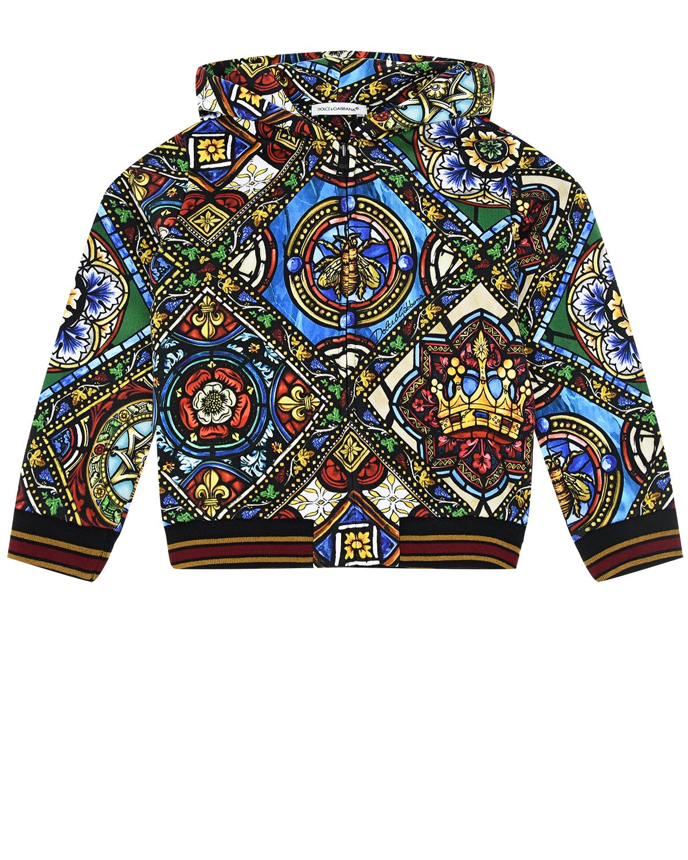 """Спортивная куртка с принтом """"Витражи"""" Dolce&Gabbana детская фото"""
