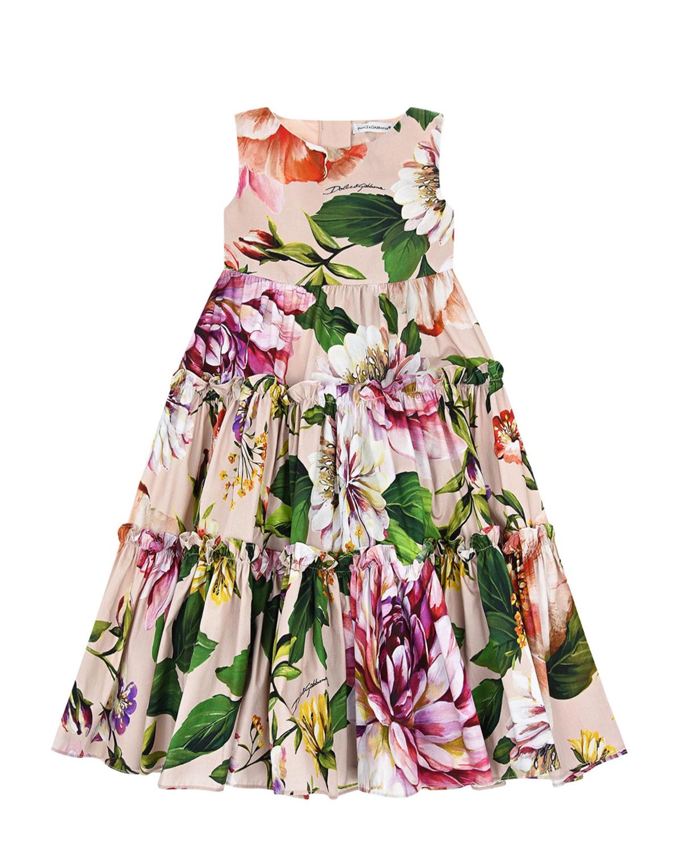 Платье из поплина с цветочным принтом Dolce&Gabbana детское фото