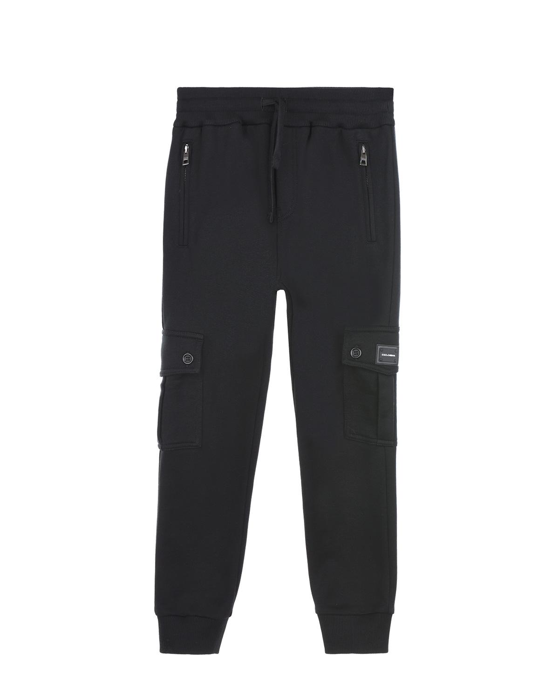 Купить Спортивные брюки с накладными карманами Dolce&Gabbana детские, Черный, 100%хлопок, 95%хлопок+5%эластан