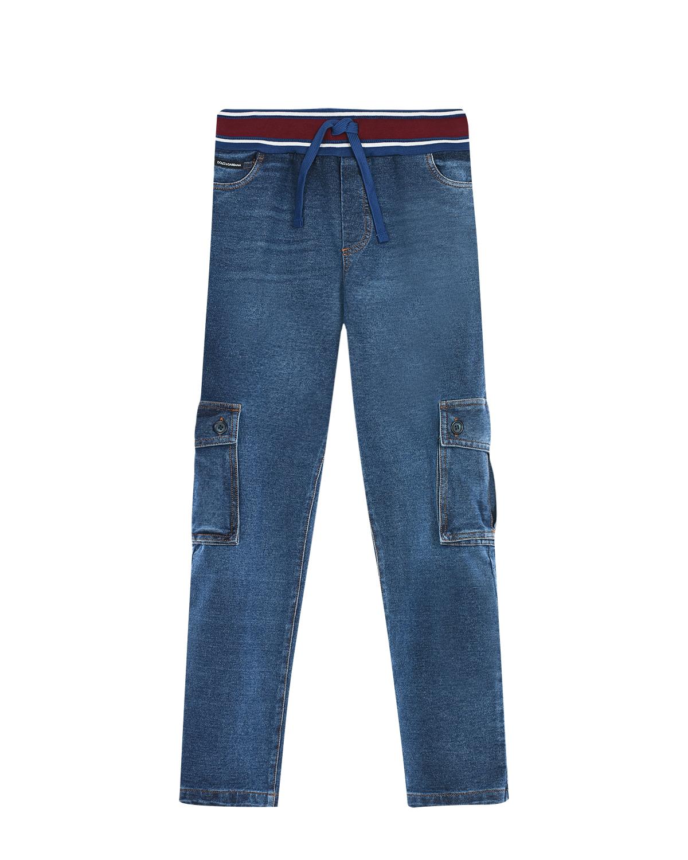 Купить Джинсовые брюки с карманами-карго Dolce&Gabbana детские, Синий, 95%хлопок+5%эластан, 96%хлопок+4%эластан