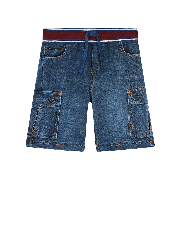Купить Джинсовые шорты с поясом на резинке Dolce&Gabbana детские, Синий, 95%хлопок+5%эластан, 96%хлопок+4%эластан