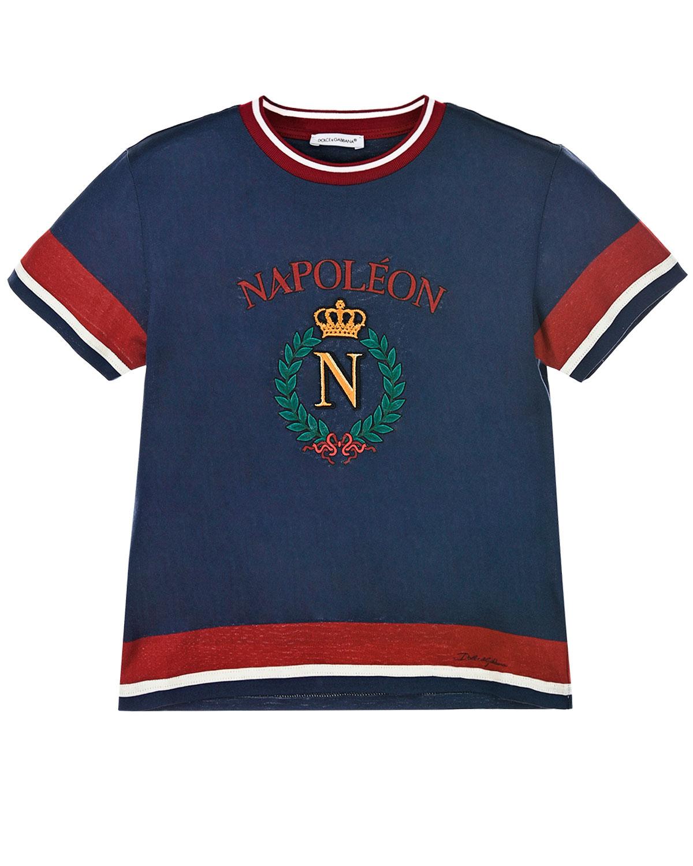 """Синяя футболка для мальчиков с принтом """"Napoleon"""" Dolce&Gabbana детская фото"""