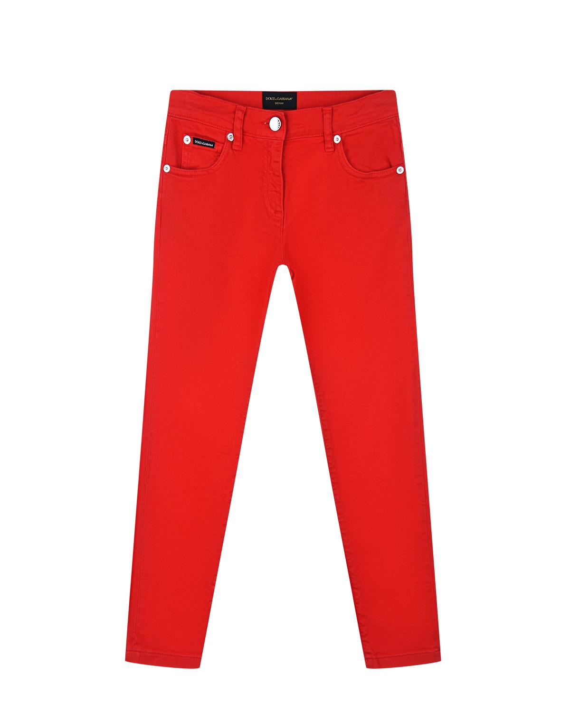 Купить Красные джинсы зауженного кроя Dolce&Gabbana детские, Красный, 98%хлопок+2%эластан, 100%хлопок