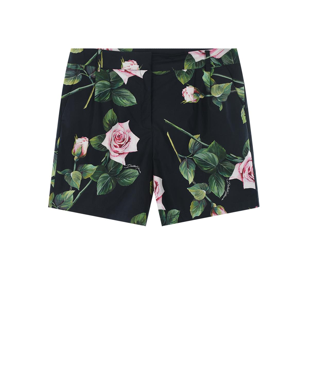 """Шорты из поплина с принтом """"Тропические розы"""" Dolce&Gabbana детские фото"""