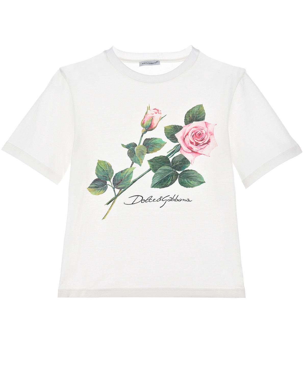 """Белая футболка с принтом """"Тропические розы"""" Dolce&Gabbana детская фото"""