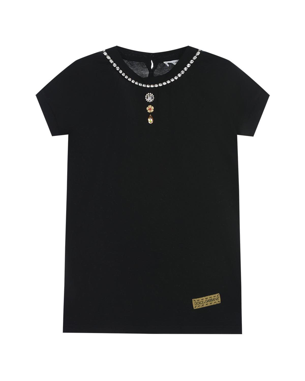 Черная футболка с декором стразами Dolce&Gabbana детская фото