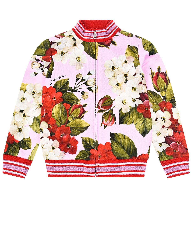 """Куртка спортивная с принтом """"Герань"""" Dolce&Gabbana детская фото"""