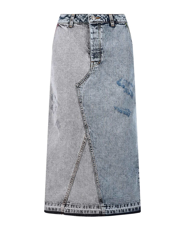 Джинсовая юбка с разноцветной прострочкой SJYP фото