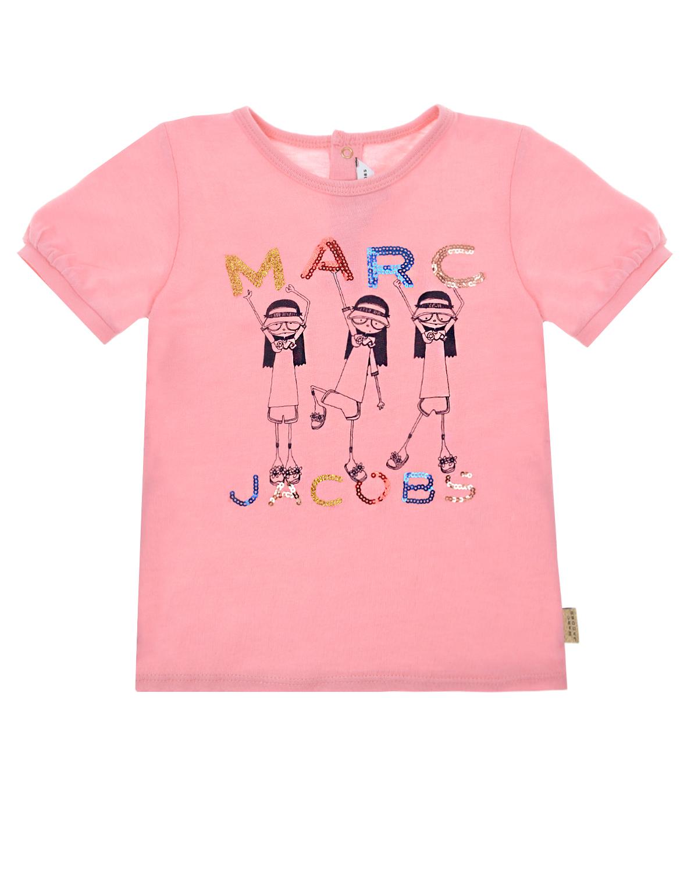 Розовая футболка с рукавами-фонариками Little Marc Jacobs детская фото