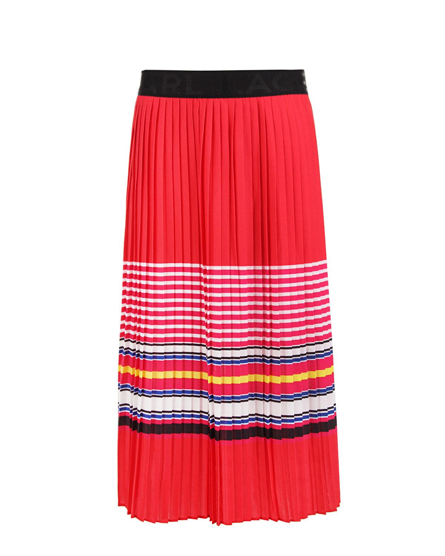 Плиссированная юбка с принтом в полоску Karl Lagerfeld kids детская фото