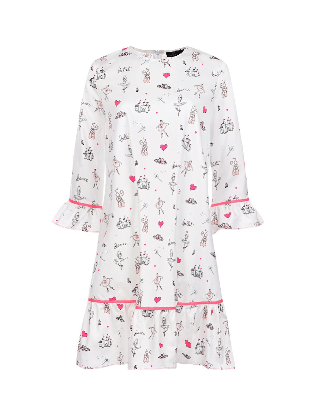 Купить Белое платье для беременных с принтом балерины Dan Maralex, Нет цвета, 100%хлопок