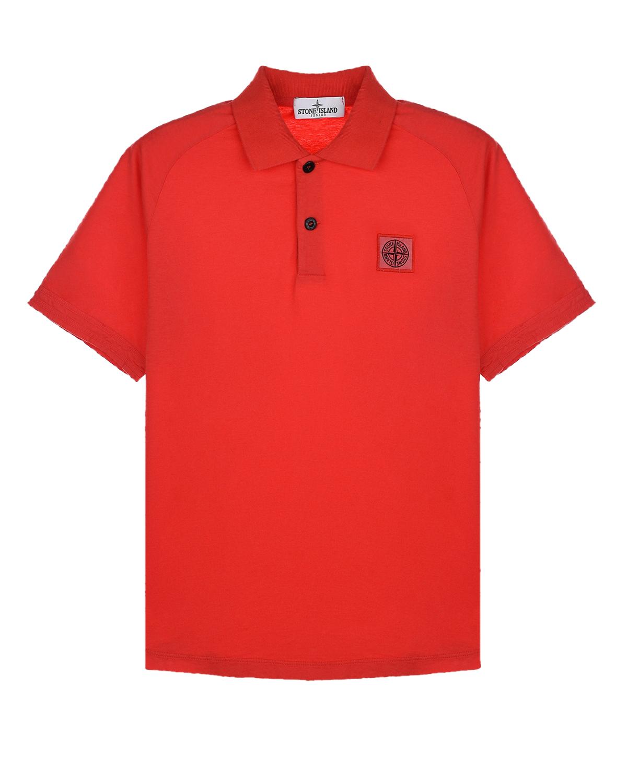 Красная футболка-поло с логотипом Stone Island.