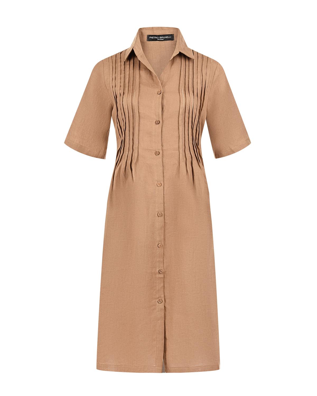 Льняное платье Celestre Pietro Brunelli коричневого цвета