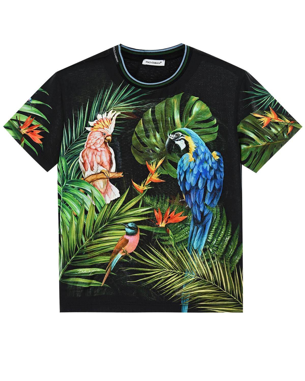 """Купить со скидкой Черная футболка с принтом """"попугаи"""" Dolce&Gabbana детская"""