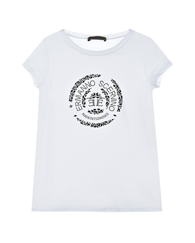 Белая футболка со стразами Ermanno Scervino детская фото
