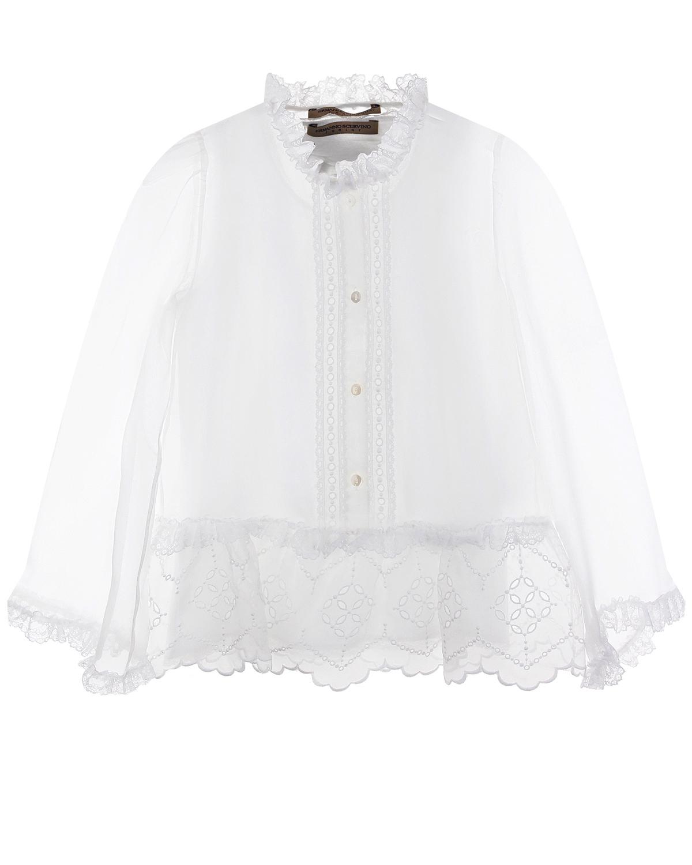 Белая блузка с перфорацией Ermanno Scervino детская фото