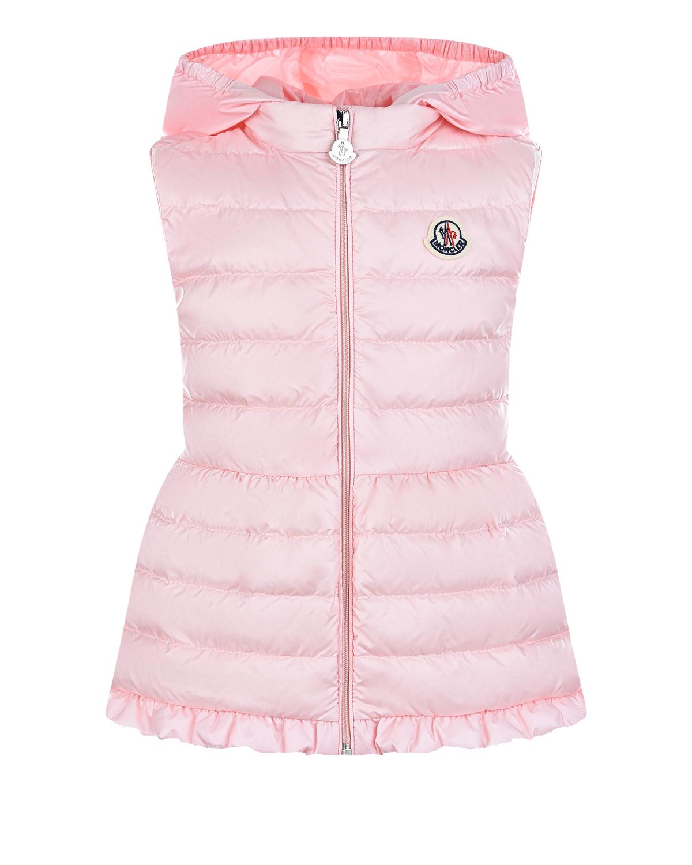 Купить Приталенный жилет с отделкой рюшами Moncler детский, Розовый, 100%полиамид, 90%пух+10%перо
