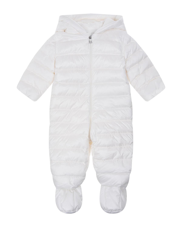 Купить Белый пуховый комбинезон с капюшоном Moncler детский, 90%пух+10%перо, 100%полиамид, 100%хлопок
