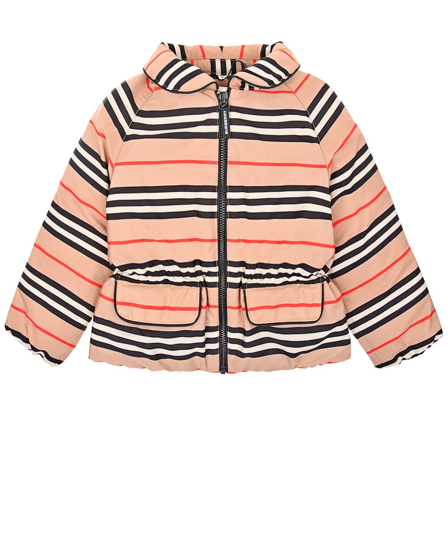 Пуховая куртка с принтом в полоску Burberry детская фото