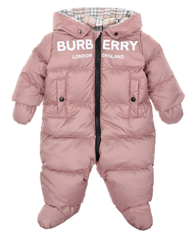 Купить со скидкой Розовый стеганый комбинезон с логотипом Burberry детский