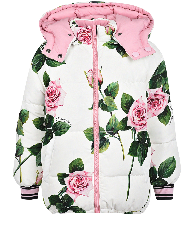 "Двухсторонний летний пуховик с принтом ""розы"" Dolce&Gabbana детский фото"