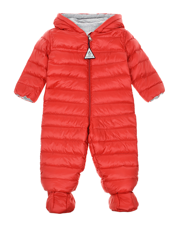 Пуховый комбинезон Akiaki красного цвета Moncler детский фото
