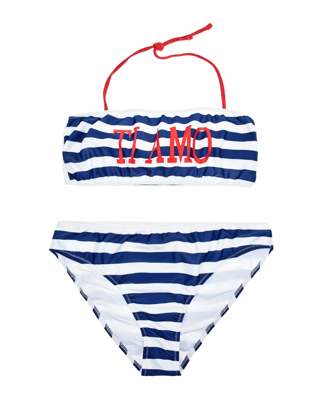 Купить Раздельный купальник в сине-белую полоску Alberta Ferretti детский, Мультиколор, 82%полиэстер+18%эластан, 88%полиэстер+12%эластан