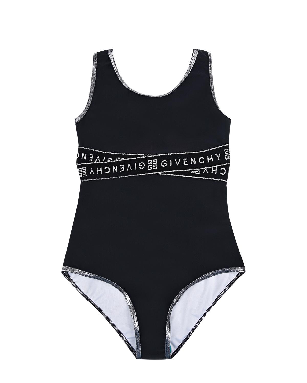Купить Черный купальник с белым логотипом Givenchy детский, 90%полиамид+10%эластан, 90%полиэстер+10%эластан, 80%полиамид+20%эластан