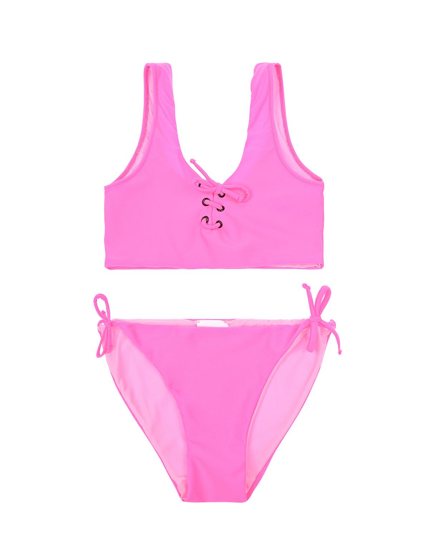 Купить Неоново-розовый купальник со шнуровкой La Perla детское, Розовый, 80%полиамид+20%эластан