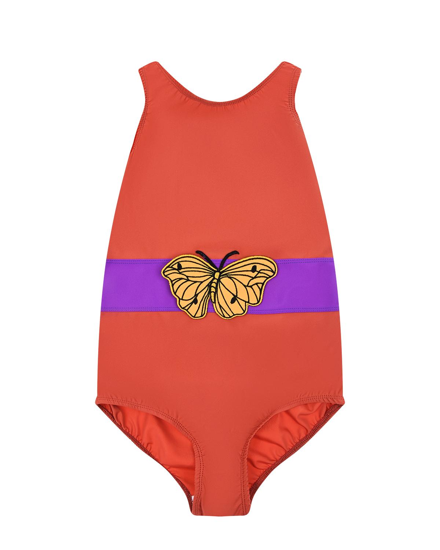 Купить Купальник с принтом Бабочка Mini Rodini детский, Коричневый, 78%полиамид+22%эластан