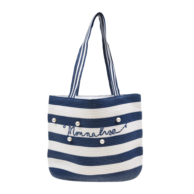 Пляжная сумка в полоску с бусинами 26х34х7 см Monnalisa детская фото