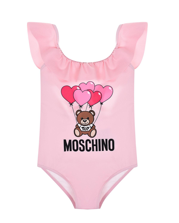 Розовый слитный купальник Moschino детский