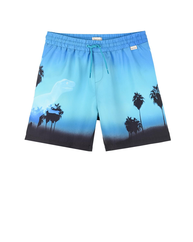 Купить Шорты для купания с принтом пальмы Paul Smith детские, Голубой, 100% полиэстер