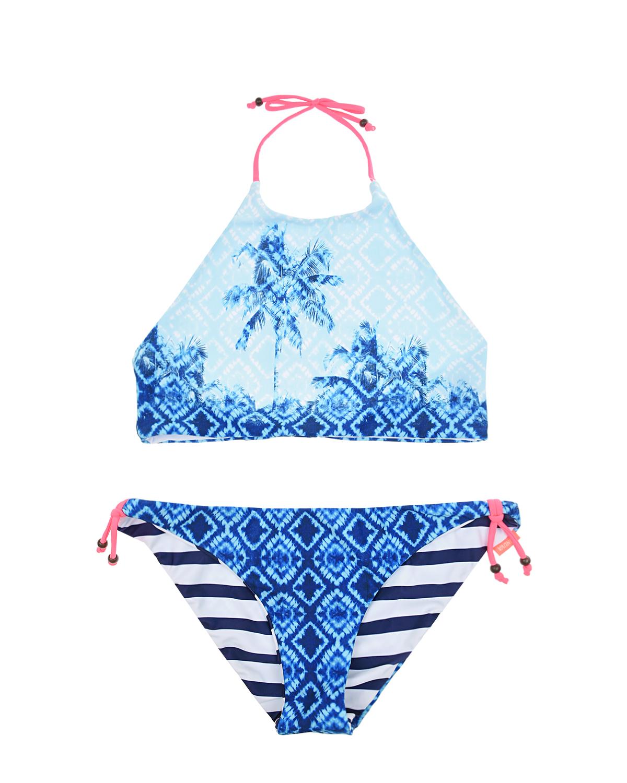 Купить Голубой раздельный купальник с розовыми завязками SUNUVA детский, 82%полиэстер+18%эластан, 92%полиэстер+8%эластан